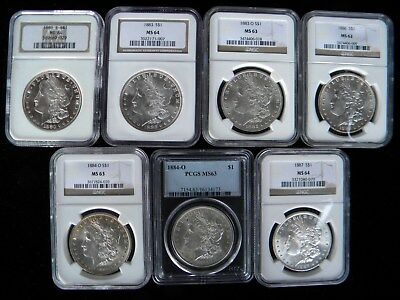 Morgan Dollar Mint State Lot of of 7 - Graded Coins