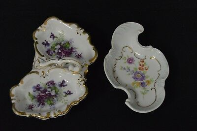 Vintage Victorian Style Gilded Floral Design Candy / Trinket Dishes
