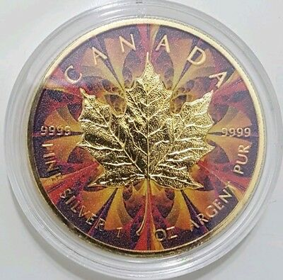 2017 1 Oz Silver YELLOW KALEIDOSCOPE Maple Leaf Coin, With GOLD GILDED.