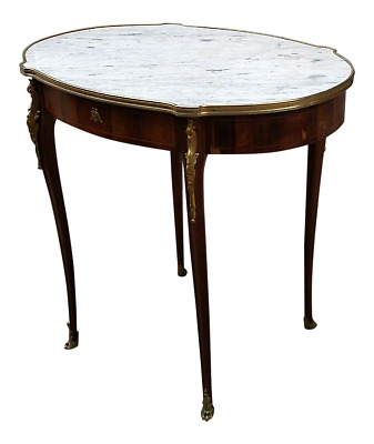 Antique 19TH C FRENCH Louis XV XVI Bronze Mounted MARBLE TOP DESK Center TABLE
