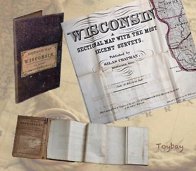 Rare Antique 1854 Sectional Pocket Map of Wisconsin by Silas Chapman, Milwaukee