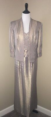 KM Collections by Milla Bell Taupe Dress w Jacket Size 14 Mother of the Bride