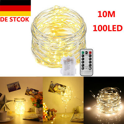 10M 100 LED Lichterkette Drahtlichterkette Fernbedienung warmweiß Batterie IP65