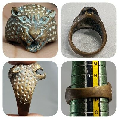Lovely Medieval Old Rare Unique Cheetah Wild Head Bronze Ring    # C