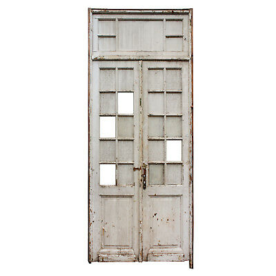 """Salvaged Pair of Antique 45"""" Doors with Transom, NED738"""