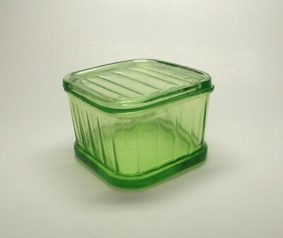 Vintage Green Depression Glass Refrigerator Dish with Cover