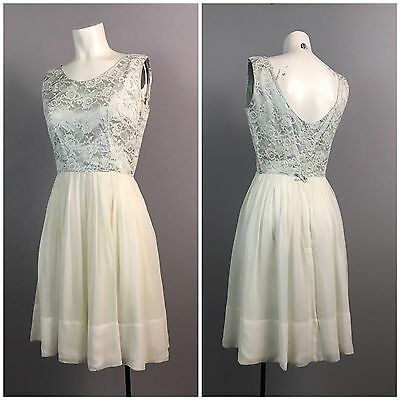 Vintage 1950s 1960s Pale Blue Lace Sleeveless Dress with Chiffon Skirt Small