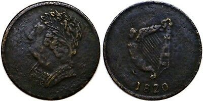 1820 Canada Lower Half Penny Token George IV & Harp Brass Br #1012 LC-60D2