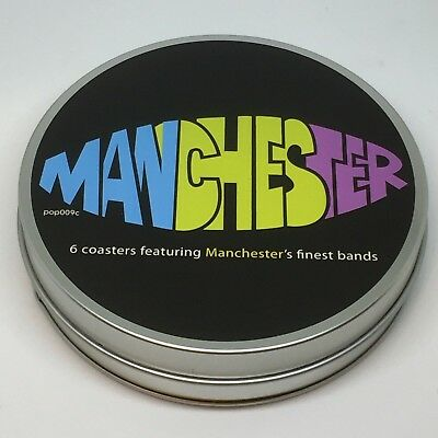 Manchester music coasters. Joy Division The Smiths Oasis Stone Roses James