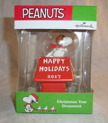 2017 Hallmark Peanuts Snoopy Flying Ace on Doghouse Ornament NIB