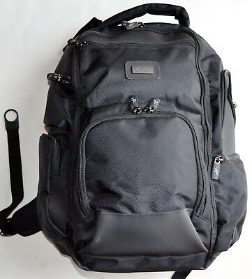 "Kenneth Cole Dual Gusset 16"" Computer Backpack Handbag Bag Black NWT MSRP$125"