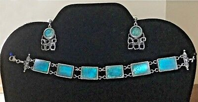 Auth Artisan Ancient Roman Glass Post Drop Earrings and Bracelet Set Turquoise
