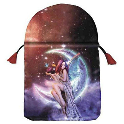 """NEW Moon Fairy Tarot Bag 6x9"""" by Lo Scarabeo Lined Satin Drawstring Pouch"""