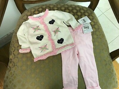 Hartstrings Baby Girl Pink and White Cardigan and Pant set Size 6-9 months NWT