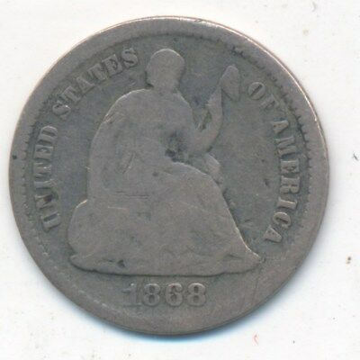 1868-S Seated Liberty Silver Half Dime-Very Nice Silver Type Coin-Ships Free!