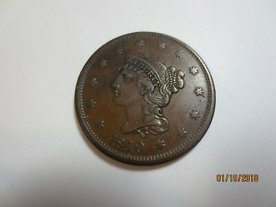 rare 1840 Braided Hair Large cent VF condition Small date variety