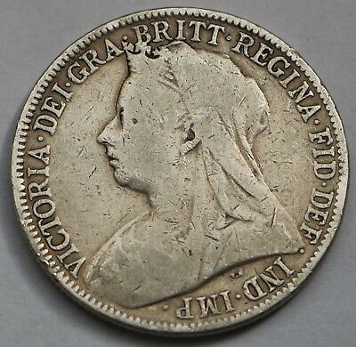 Uk Great Britain Victoria Silver Florin 1900 Free Shipping