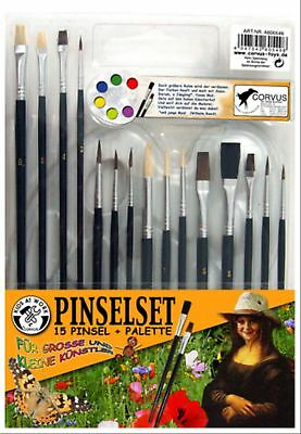 Corvus A600549 - Kids at work: Pinselset, 15 Pinsel, Pinselpalette  Kids at work