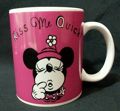 Disney Minnie Mouse Coffee Mug Kiss Me Quick I'm Waiting Dark Pink