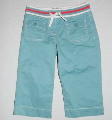 mini Boden blue woven pull on style capri pants size 8 HCB orange stripe cropped