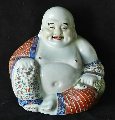 Antique Chinese Porcelain Laughing Buddha Hotai Rose Famille Statue MARKED Qing
