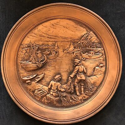Extremely rare Francis Lascour Terracotta Wall Plaque, Harbour Side Scene