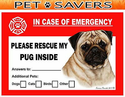 Pug Pet Savers Emergency Rescue Window Cling Sticker