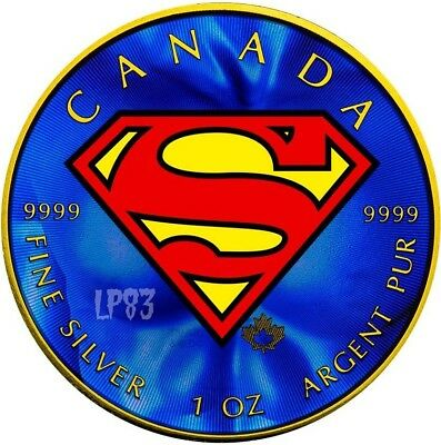 2016 1 Oz Silver Colored SUPERMAN Coin WITH 24K GOLD GILDED..