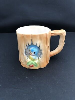 Rare Vintage Lefton Norcrest Bluebird With Cherry Branch Mug Collectible