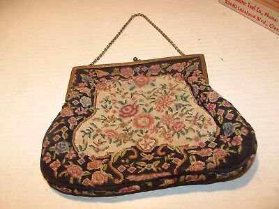 Vintage Genuine Petitpoint Tapestry Clutch Purse Used and Worm