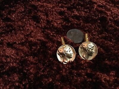 """Daniel Chester French, French Head 3/4"""" Goldfilled Cuff links Medallic Art #3"""