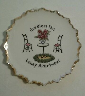 Vintage God Bless This Lousy Apartment Plate Wall Hanging