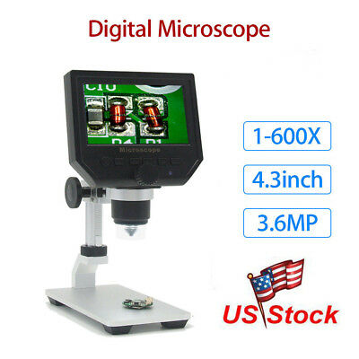 "G600 Digital 1-600X 4.3"" LCD Microscope Magnifier Endoscope Professional Camera"