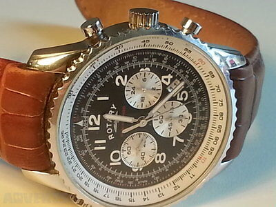 Men's Rotary Chronospeed Chronograph Brown Leather Strap Watch - NEW
