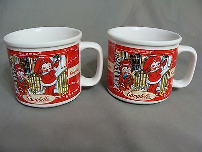 2 Campbell's Soup Mugs, 1998, Children Raking Leaves & Children With Presents
