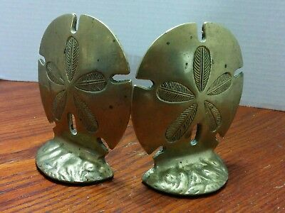 Vintage Cast Brass  Bookends  Sand Dollar Made In Taiwan