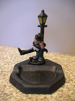 Vintage Cast Iron Ashtray Drunk Man Hanging on Lamp Post original Tobacco holder