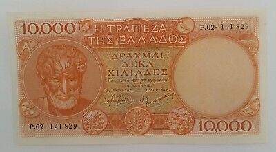 Greece 10,000 dr. 1955 banknote XF or better Series A RARE