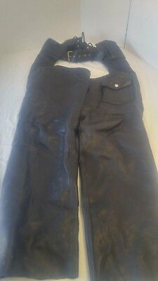 Michigan Genuine Naked Cowhide Leather Motorcycle Chaps Mens Sz M