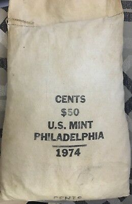 One (1) 1974-D (Denver) MINT Sewn, Sealed, UNOPENED $50. CENT BAG FREE SHIPPING!
