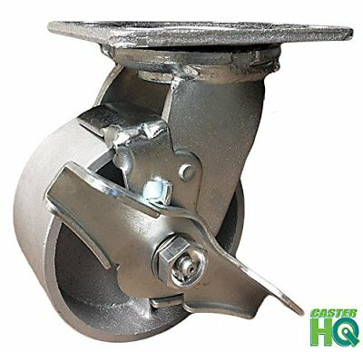 "CASTERHQ- 4"" Heavy Duty Swivel Caster with Brake - 4"" Semi Steel Cast Iron Wheel"