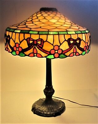 Signed CHICAGO MOSAIC Stained Glass Lamp w/ Rare Design  c. 1915  leaded antique