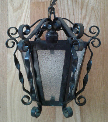 Vintage Spanish Gothic Black Wrought Iron Hanging Swag Ceiling Light Lamp (A)