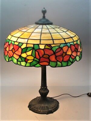 Signed CHICAGO MOSAIC Stained Glass Lamp w/ Floral Design c. 1915 leaded antique