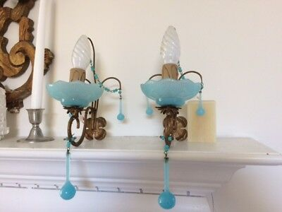 antique vintage sconces italian french blue opaline  murano macaroni wall light