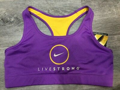 Authentic Nike Livestrong Running Crop Top Bra Sports Top Lilac Large 428937