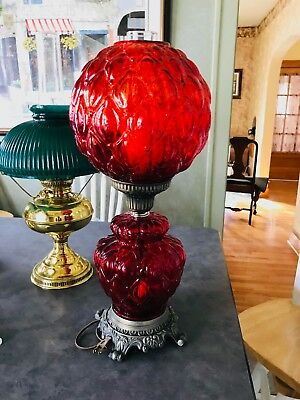 Antique Victorian Brass Cast Iron Electric Oil Lamp With Red Glass Shade Great