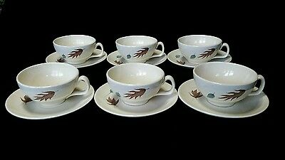 Set of 6 Franciscan Autumn  Cup and Saucer  Gladding McBean old stamp leaves