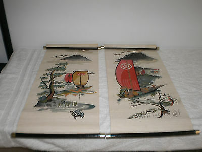 """Hand Painted Lot of 2 Japanese """"Sailing Ships"""" Scroll Art Displays - Clean -"""
