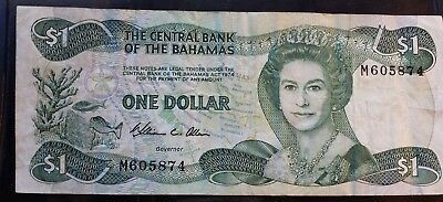 Bahamas Dollar $1 Banknote Paper Money Queen Elizabeth No Writing rips or tears